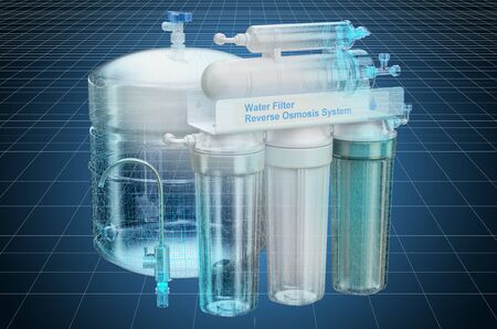 Visualization 3d cad model of Reverse Osmosis System, blueprint. 3D rendering