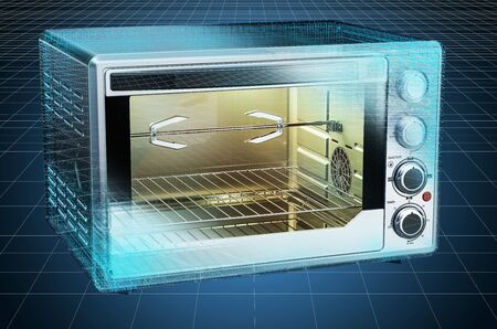 Visualization 3d cad model of Convection Toaster Oven, blueprint. 3D rendering