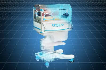 Visualization 3d cad model of neonatal incubator. 3D rendering Stock Photo