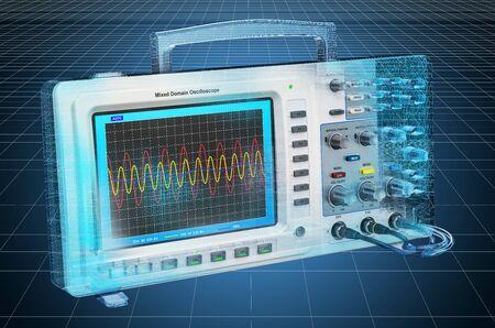 Visualization 3d cad model of oscilloscope. 3D rendering Stock Photo