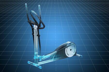 Visualization 3d cad model of elliptical trainer, blueprint. 3D rendering