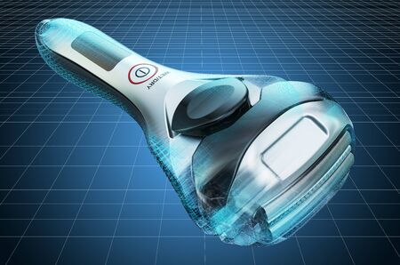 Visualization 3d cad model of foil-type cordless razor, shaver, blueprint. 3D rendering Imagens