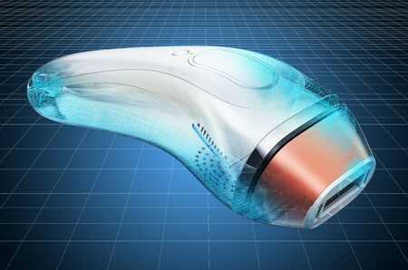 Visualization 3d cad model of Hair Removal Laser, blueprint. 3D rendering