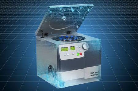Visualization 3d cad model of laboratory centrifuge, blueprint. 3D rendering Imagens