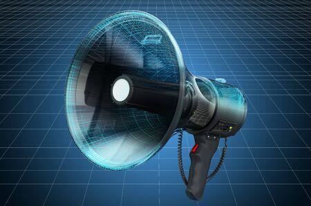 Visualization 3d cad model of megaphone or bullhorn, blueprint. 3D rendering Imagens