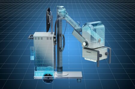 Visualization 3d cad model of mobile x-ray machine. 3D rendering