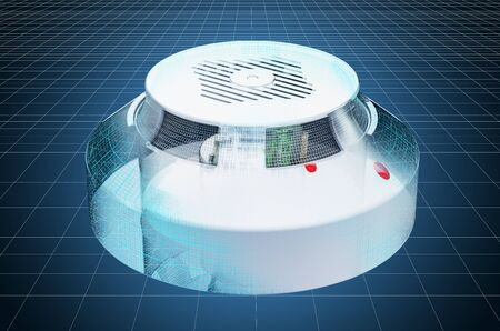 Visualization 3d cad model of smoke detector, blueprint. 3D rendering