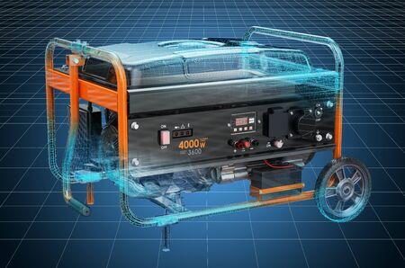 Visualization 3d cad model of tank air compressor, blueprint. 3D rendering