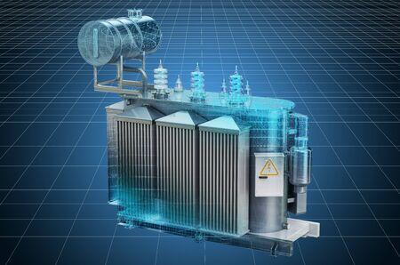 Visualization 3d cad model of transformer oil, high voltage power transformer, blueprint. 3D rendering Imagens