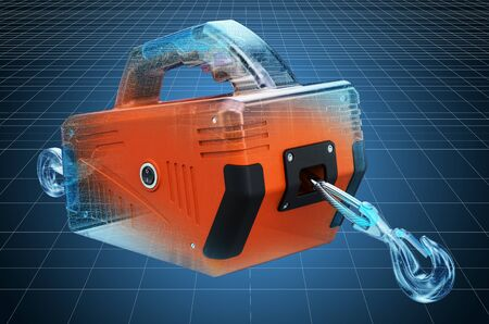 Visualization 3d cad model of Portable Electric Winch, blueprint. 3D rendering Stock Photo - 128980588