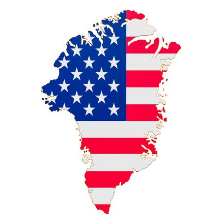 Purchase of Greenland concept, map of Greenland with USA flag. 3D rendering isolated on white background