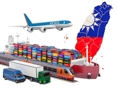 Cargo shipping and freight transportation in Taiwan by ship, airplane, train, truck and van. 3D rendering isolated on white background Stock Photo