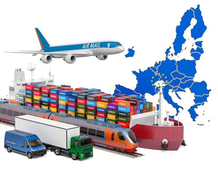 Cargo shipping and freight transportation in the European Union by ship, airplane, train, truck and van. 3D rendering