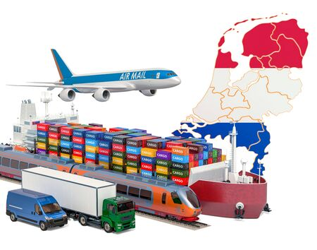 Cargo shipping and freight transportation in the Netherlands by ship, airplane, train, truck and van. 3D rendering isolated on white background Stock Photo