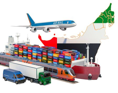 Cargo shipping and freight transportation in the United Arab Emirates by ship, airplane, train, truck and van. 3D rendering isolated on white background