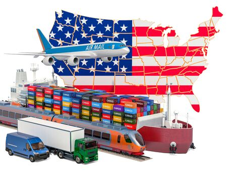 Cargo shipping and freight transportation in the United States by ship, airplane, train, truck and van. 3D rendering Stock Photo