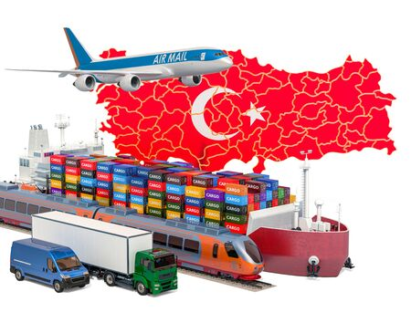 Cargo shipping and freight transportation in Turkey by ship, airplane, train, truck and van. 3D rendering isolated on white background Stock Photo