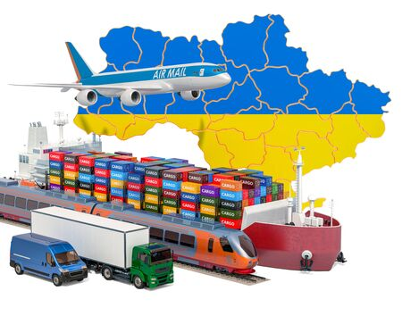 Cargo shipping and freight transportation in Ukraine by ship, airplane, train, truck and van. 3D rendering isolated on white background
