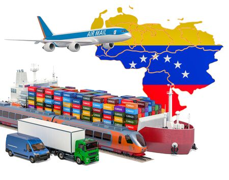 Cargo shipping and freight transportation in Venezuela by ship, airplane, train, truck and van. 3D rendering isolated on white background Stock Photo
