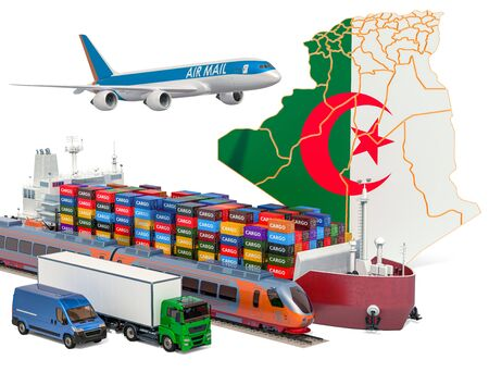 Cargo shipping and freight transportation in Algeria by ship, airplane, train, truck and van. 3D rendering isolated on white background