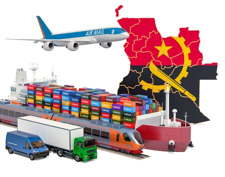 Cargo shipping and freight transportation in Angola by ship, airplane, train, truck and van. 3D rendering isolated on white background