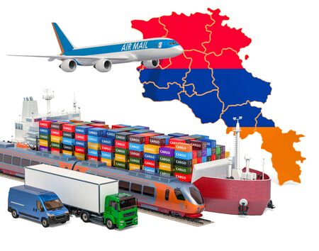 Cargo shipping and freight transportation in Armenia by ship, airplane, train, truck and van. 3D rendering isolated on white background Stock Photo