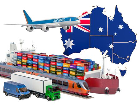 Cargo shipping and freight transportation in Australia by ship, airplane, train, truck and van. 3D rendering isolated on white background