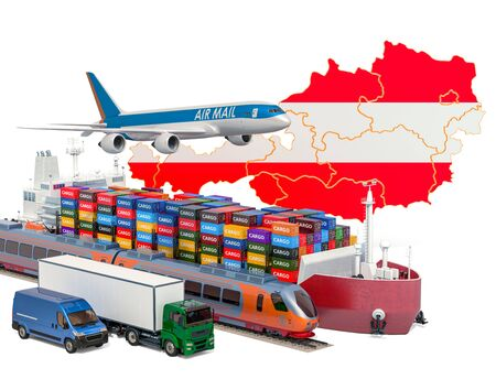 Cargo shipping and freight transportation in Austria by ship, airplane, train, truck and van. 3D rendering isolated on white background