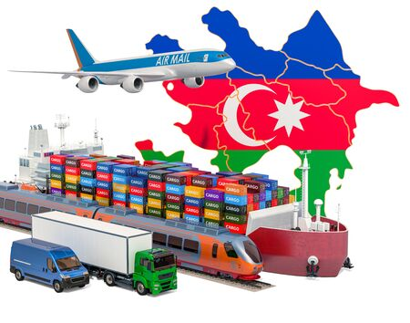 Cargo shipping and freight transportation in Azerbaijan by ship, airplane, train, truck and van. 3D rendering isolated on white background