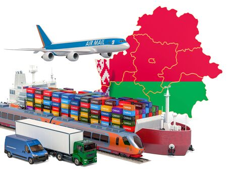 Cargo shipping and freight transportation in Belarus by ship, airplane, train, truck and van. 3D rendering isolated on white background