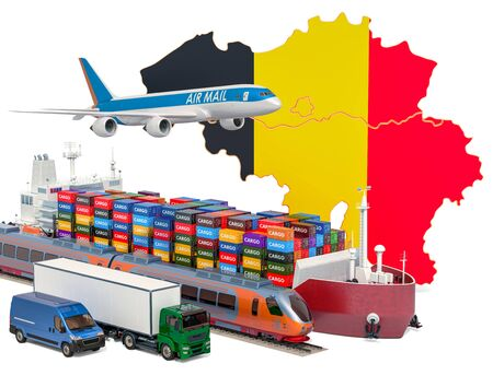 Cargo shipping and freight transportation in Belgium by ship, airplane, train, truck and van. 3D rendering isolated on white background Stock Photo