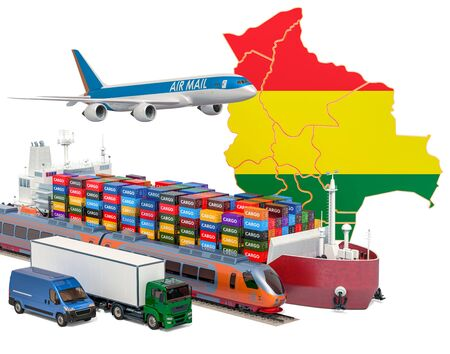 Cargo shipping and freight transportation in Bolivia by ship, airplane, train, truck and van. 3D rendering isolated on white background