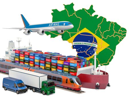 Cargo shipping and freight transportation in Brazil by ship, airplane, train, truck and van. 3D rendering isolated on white background