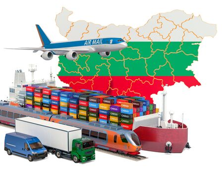 Cargo shipping and freight transportation in Bulgaria by ship, airplane, train, truck and van. 3D rendering isolated on white background