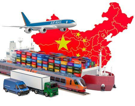 Cargo shipping and freight transportation in China by ship, airplane, train, truck and van. 3D rendering isolated on white background Stock Photo