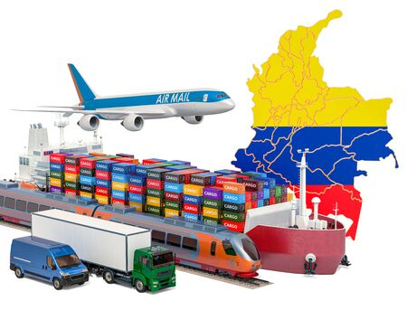 Cargo shipping and freight transportation in Columbia by ship, airplane, train, truck and van. 3D rendering isolated on white background 스톡 콘텐츠