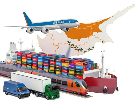 Cargo shipping and freight transportation in Cyprus by ship, airplane, train, truck and van. 3D rendering isolated on white background