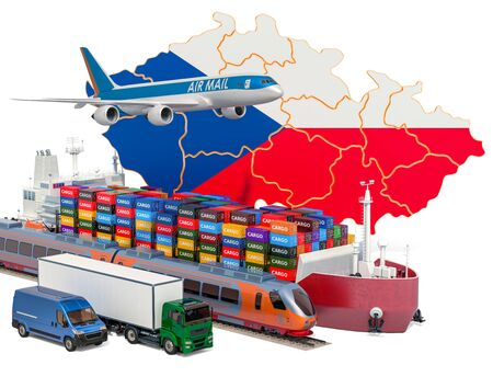 Cargo shipping and freight transportation in Czech Republic by ship, airplane, train, truck and van. 3D rendering isolated on white background Stock Photo