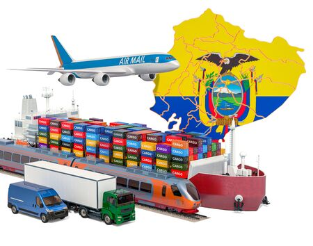 Cargo shipping and freight transportation in Ecuador by ship, airplane, train, truck and van. 3D rendering isolated on white background
