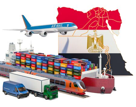 Cargo shipping and freight transportation in Egypt by ship, airplane, train, truck and van. 3D rendering isolated on white background