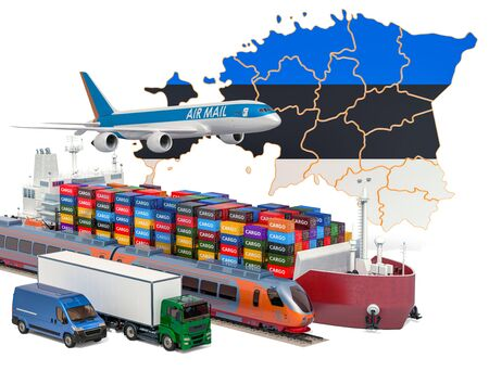 Cargo shipping and freight transportation in Estonia by ship, airplane, train, truck and van. 3D rendering isolated on white background