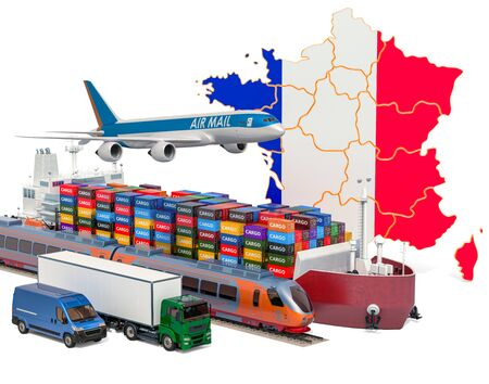 Cargo shipping and freight transportation in France by ship, airplane, train, truck and van. 3D rendering isolated on white background Stock Photo