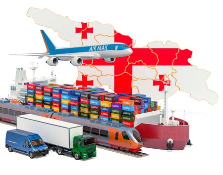 Cargo shipping and freight transportation in Georgia by ship, airplane, train, truck and van. 3D rendering isolated on white background