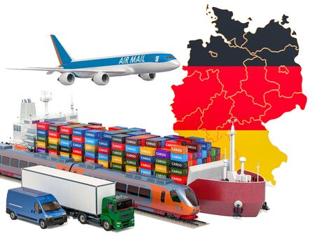 Cargo shipping and freight transportation in Germany by ship, airplane, train, truck and van. 3D rendering isolated on white background Stock Photo
