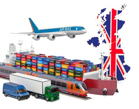 Cargo shipping and freight transportation in Great Britain by ship, airplane, train, truck and van. 3D rendering isolated on white background