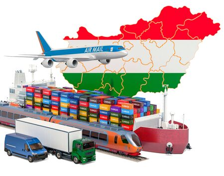 Cargo shipping and freight transportation in Hungary by ship, airplane, train, truck and van. 3D rendering isolated on white background