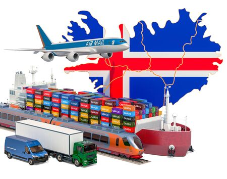 Cargo shipping and freight transportation in Iceland by ship, airplane, train, truck and van. 3D rendering isolated on white background Stock fotó
