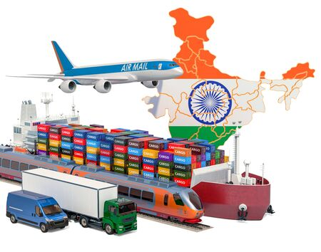 Cargo shipping and freight transportation in India by ship, airplane, train, truck and van. 3D rendering isolated on white background Stock Photo - 129300704