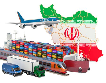 Cargo shipping and freight transportation in Iran by ship, airplane, train, truck and van. 3D rendering isolated on white background