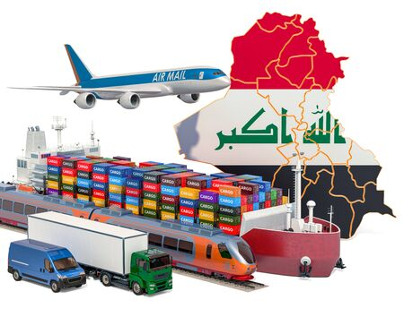 Cargo shipping and freight transportation in Iraq by ship, airplane, train, truck and van. 3D rendering isolated on white background Stock Photo - 129300706